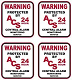 4 Pc Likely Unique Warning Protected 24 Hour Central Alarm Monitoring Service Monitor Security Stickers Sign Bike Being Watched Video Hr Surveillance Decals Home Trespassing Reflective Size 3''x3.3''