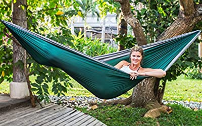 Camping Hammock - Double Nylon Parachute Hammock - Lightweight Hammock - BIG - Two Person Hammock - Holds up to 550 Pounds - Great Travel Hammock - Tropical Breeze - Hammocks