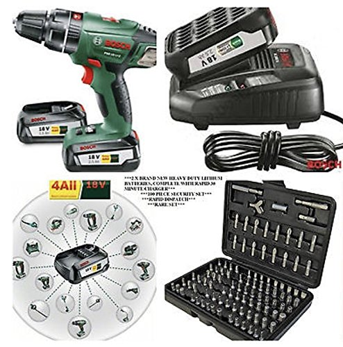 Bosch 18v CORDLESS LITHIUM COMBI DRILL x2 BATTERIES,FAST CHARGER IN CARRYING CASE