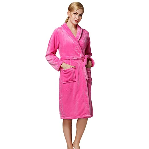 iLOOSKR New Women s Home Bathrobes Flannel Warm Robes Pajamas(Hot Pink ... b7345576f