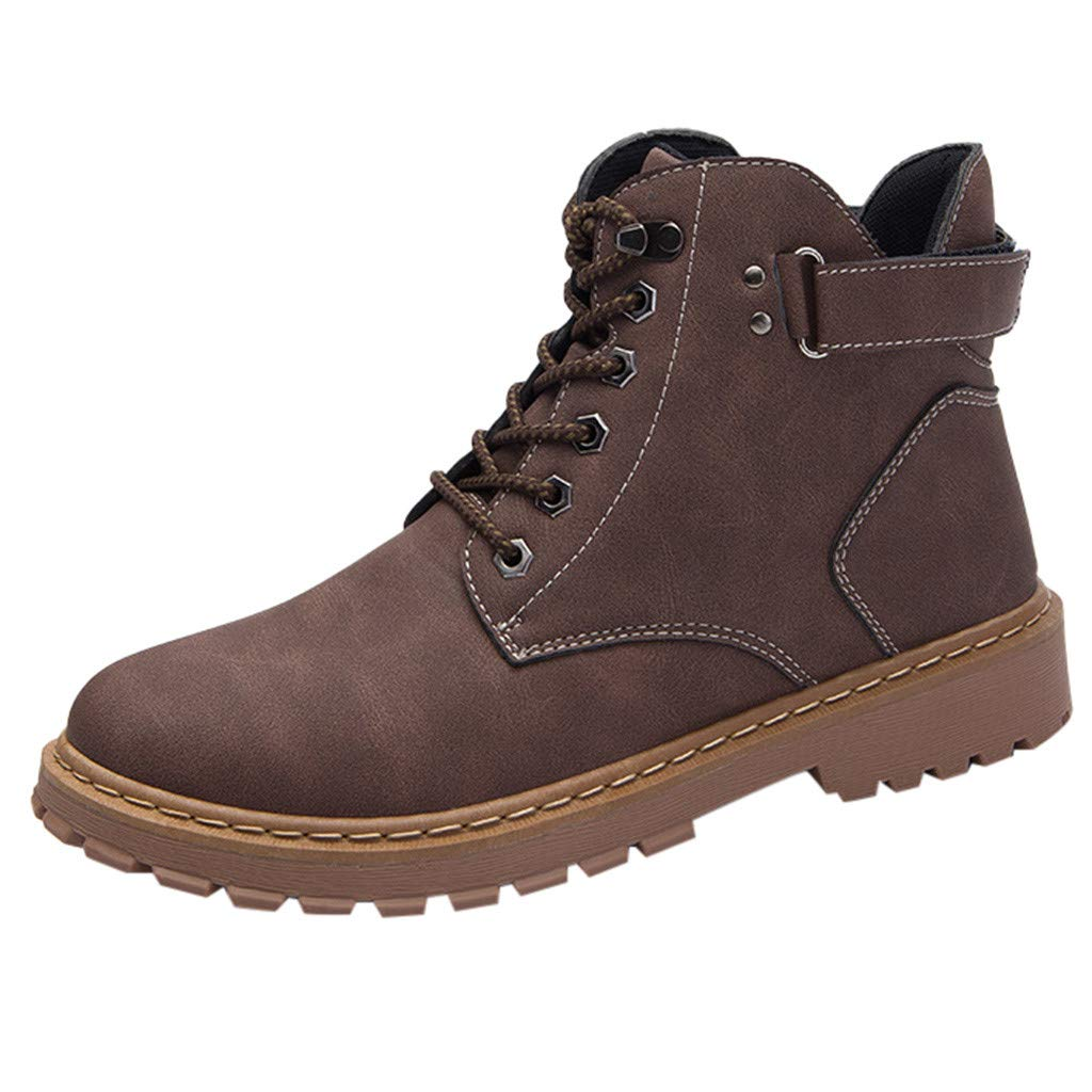Lovygaga Popular Men Classic Solid Color Outdoor Tube Boots Casual Comfy Non-Slip Tooling Military Breathable Boots Brown