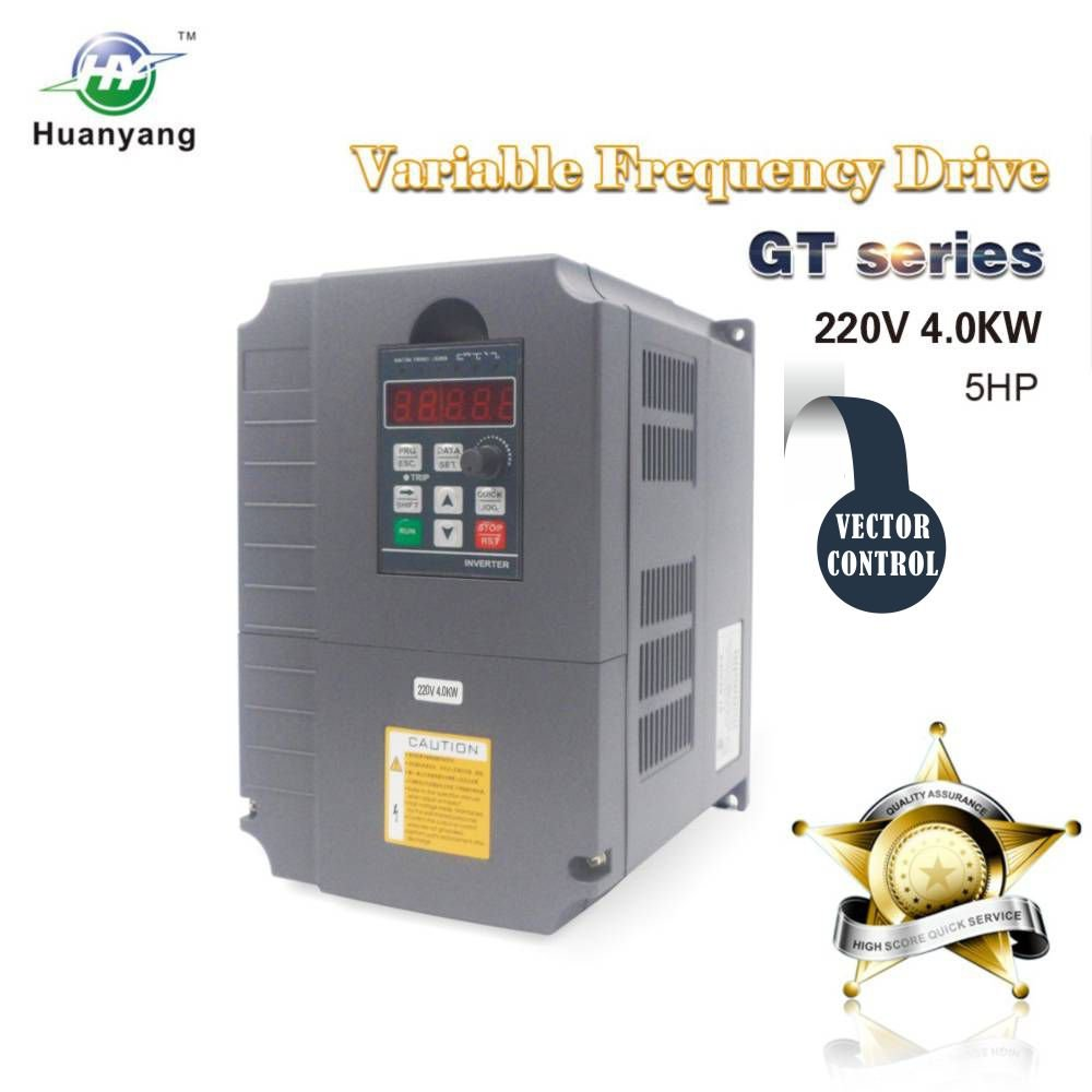 Vector Control CNC VFD Variable Frequency Drive Controller Inverter  Converter 220V 4 0KW 5HP for Motor Speed Control HUANYANG GT-Series (220V,  4 0KW)