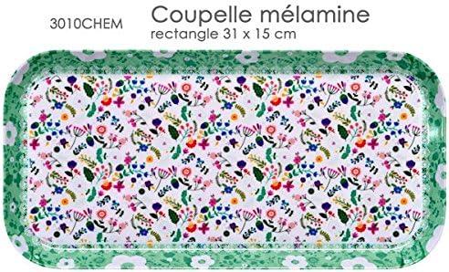 Plat A Cake RECTANGULAIRE 31 X 15 CM Decor VACHEMENT Fleur Fox Trot 3010CHEM