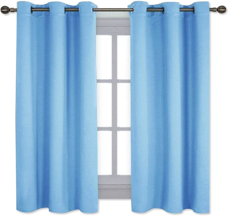 NICETOWN Home Fashion Thermal Insulated Solid Grommet Blackout Curtain Panels for Bedroom (1 Pair, 42 inches Wide by 63 inches Long, Blue)