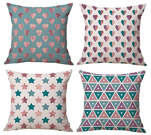Star Pillow Toss - BLUETTEK New Decorative Throw Pillow Covers Set Of 4 18 x 18 Inches, Purple-Teal-Rose-Gold Heart-Stars-Triangles Shining Burlap Toss Pillow Case for Living Room, Couch and Bed