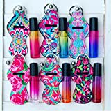 SET OF 6 OMBRE FADE GRADIENT GLASS 10ML ESSENTIAL OIL ROLLER BOTTLES WITH STAINLESS STEEL ROLL-ON BALL & 6 MATCHING LILLY PATTERN NEOPRENE CASES