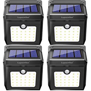 28 LEDs Solar Lights Outdoor, Luposwiten Solar Motion Sensor Lights Wireless Security Lights, IP65 Waterproof Solar Powered Lights for Steps Yard Garage Porch Patio