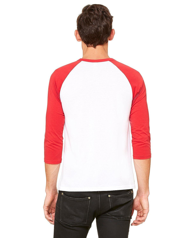 Bella WHITE//RED Canvas Unisex 3//4-Sleeve Baseball T-Shirt