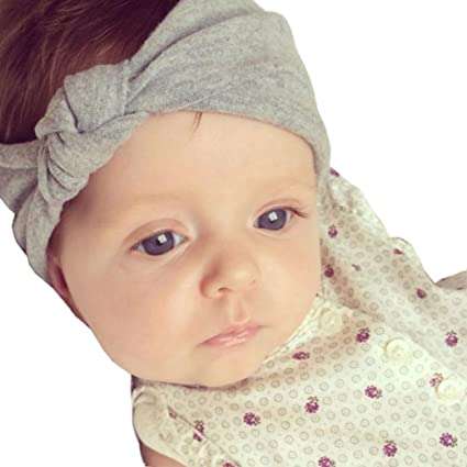 3b56ad86012e6 Baby Bow Hairband Koly Girls Photography Toddler Cute Kids Turban Knot  Rabbit Headband Headwear (Grey)  Amazon.co.uk  Baby