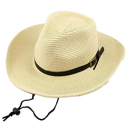 Mens Womens Straw Cowboy Hat Outdoor Summer Beach Wide Brim Sun Cap (Beige)  at Amazon Women s Clothing store  d25e24e3df45