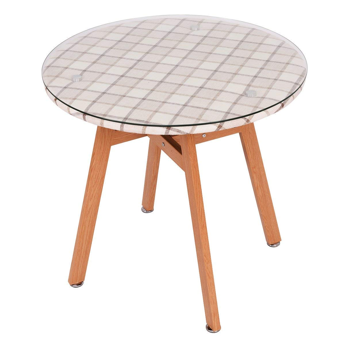 Casart Round Dining Table Steel Frame Tempered Glass Top Home Decor Kitchen Furniture