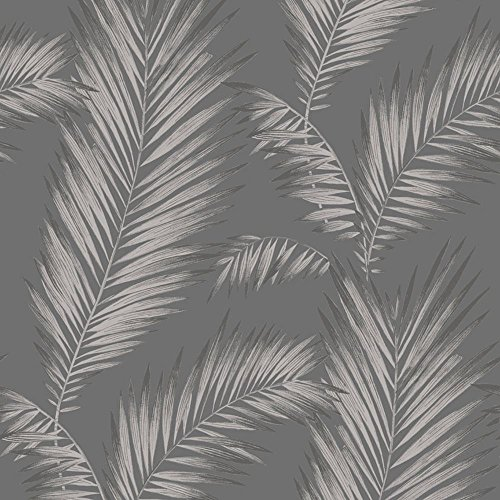 Precious Metals Ardita Leaves Wallpaper - Gunmetal - Arthouse 673001