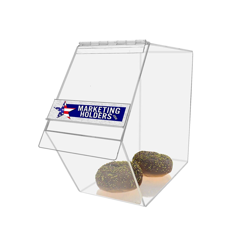 Marketing Holders Food Storage Dispenser - Bread / Bagel / Candy Box 6''w x 16''d x 10''h (Clear, 4)