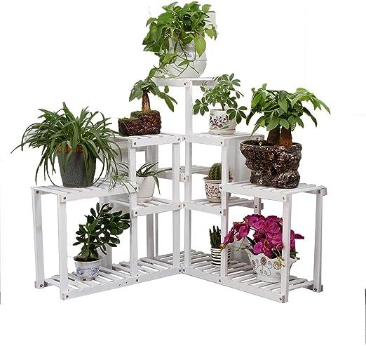 Estantes para plantas / estanteria jardin Soporte de flores de madera maciza Balcón de varias capas al
