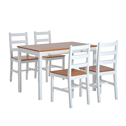 HomCom 5 Piece Solid Pine Wood Table And Chairs Dining Set   White