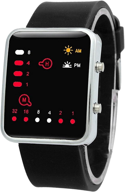 Reloj - SODIAL(R) Unisex De Mujer Reloj Hombre Silicona Digital Rojo LED Deportivo Binario Pulsera Color del Articulo:Negro