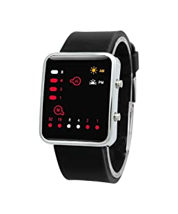 SODIAL(R) Unisex Silicone Sport Watch Red LED Digital Binary Wrist Sport Item Color:black