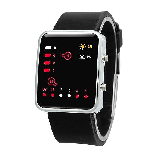 Reloj - SODIAL(R)Unisex De mujer Reloj Hombre Silicona Digital Rojo LED Deportivo Binario pulsera Color Del Articulo:Negro: Amazon.es: Relojes