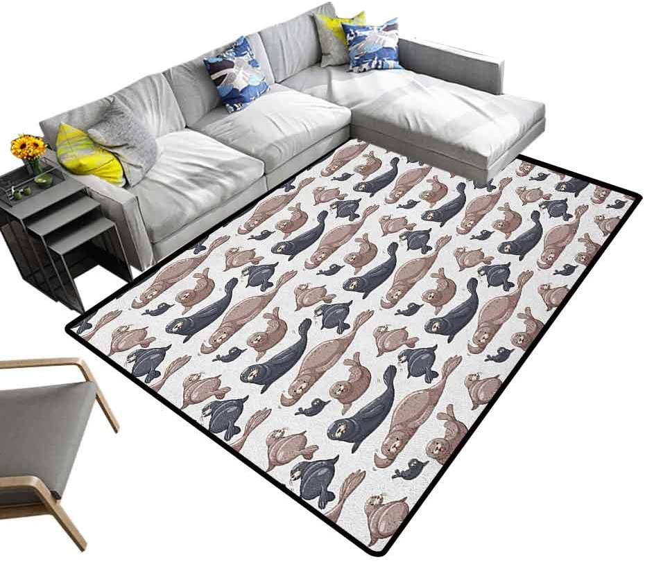 "Sea Animals Area Rug Seals Illustration Sea Lion Exotic Tropical Comic Graphic Wild Ocean Children Play Mat Cadet Blue Mauve (5'7""x6'6"")"