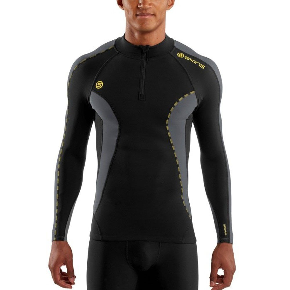 Skins Mens DNAmic Men's Thermal Compression Long Sleeve Mock Neck with Zip Top, Black/Pewter, Small by Skins (Image #3)