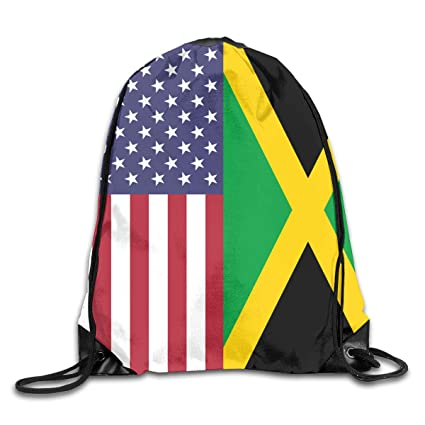 Image Unavailable. Image not available for. Color  Men s and Women s  Drawstring Backpack Bag America Jamaica Flag ... 3487935e2