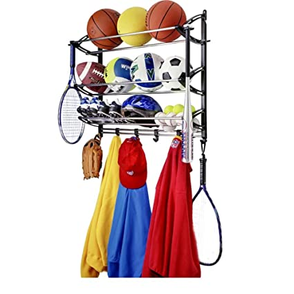 Sports Theme Coat Rack And Sport Equipment Storage Rack For Garage, Wall  Mounted Metal Sports