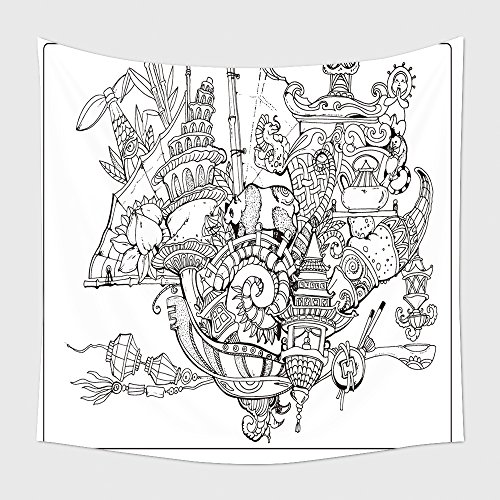 Home Decor Tapestry Wall Hanging Vector Adult Coloring Book Page Black And White Contor Coloring Composition Ink Illustration 390210577 for Bedroom Living Room Dorm (Halloween Grid Coloring Pages)