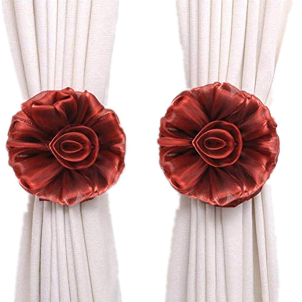 Weiyun Window Clip-On Flower Tie Backs TieBacks VS Holdback Clips Binding for Voile & Net Curtain Panels Curtain Buckles Holder Decor Peony Flower Rope 2 Inch Fastening for House Decoration (Wine)