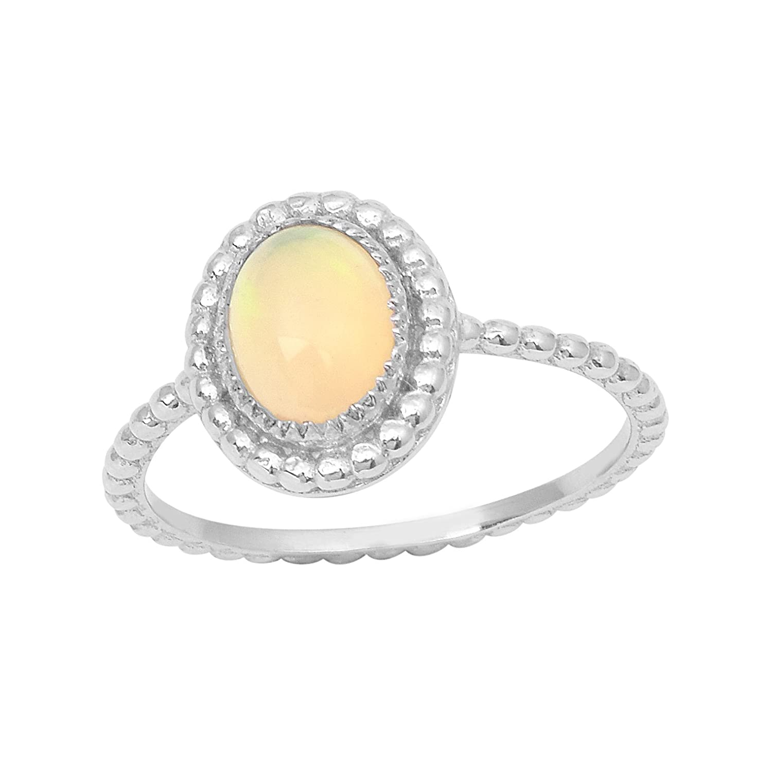 Shine Jewel Oval Cab Ethiopian Opal Gemstone Braided Shank Solitaire Ring 925 Sterling Silver