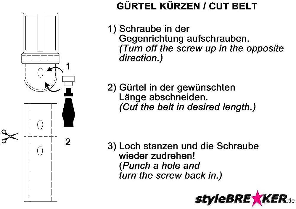 k/ürzbar Damen 03010051 verschiedenen Nieten und Strass styleBREAKER Nieteng/ürtel im Vintage Design