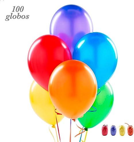 100 Globos de látex de Colores Variados y Cinta de Colores: Amazon ...