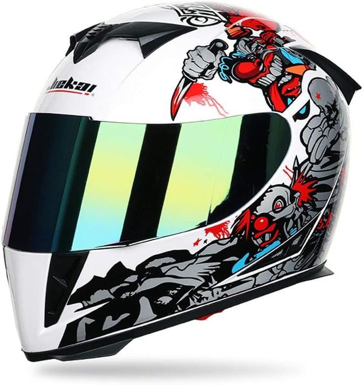 SanQing Motocicleta Cara Completa Casco Modular elevación Doble Escudo Gafas, Personalidad Payaso Pintura Motocicleta Casco Cuatro Estaciones,WhiteClown,L
