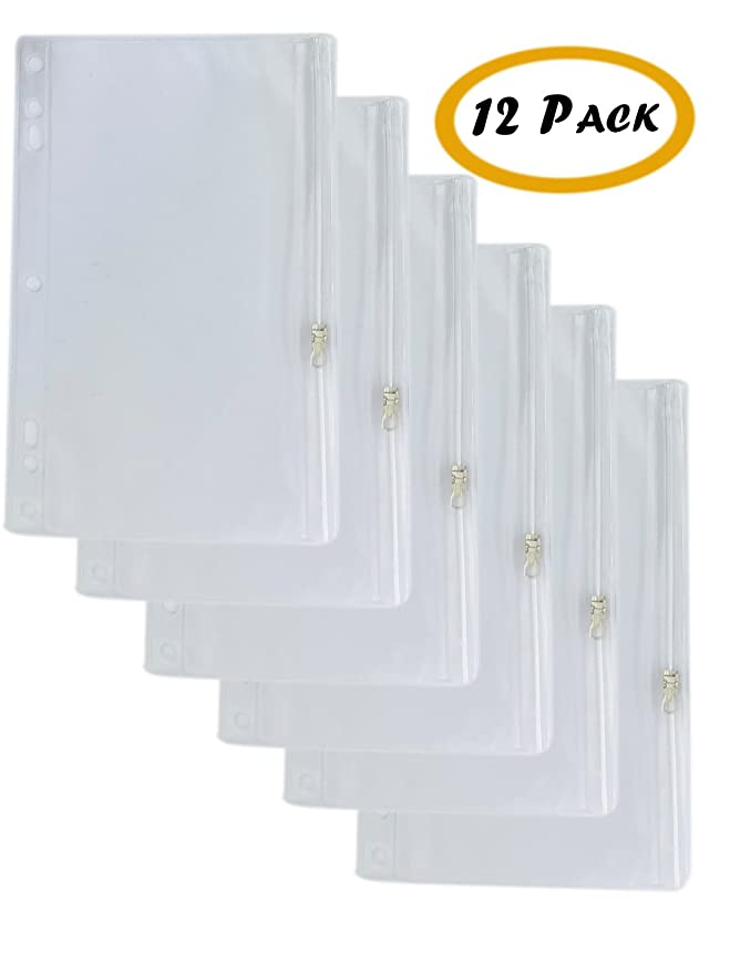 Vinyl Ring Binder Pockets - 9 ½ x 6 Inches - Fits All Standard Ring Binders - Zip Closure to Secure Your Belongings - 12-Pack