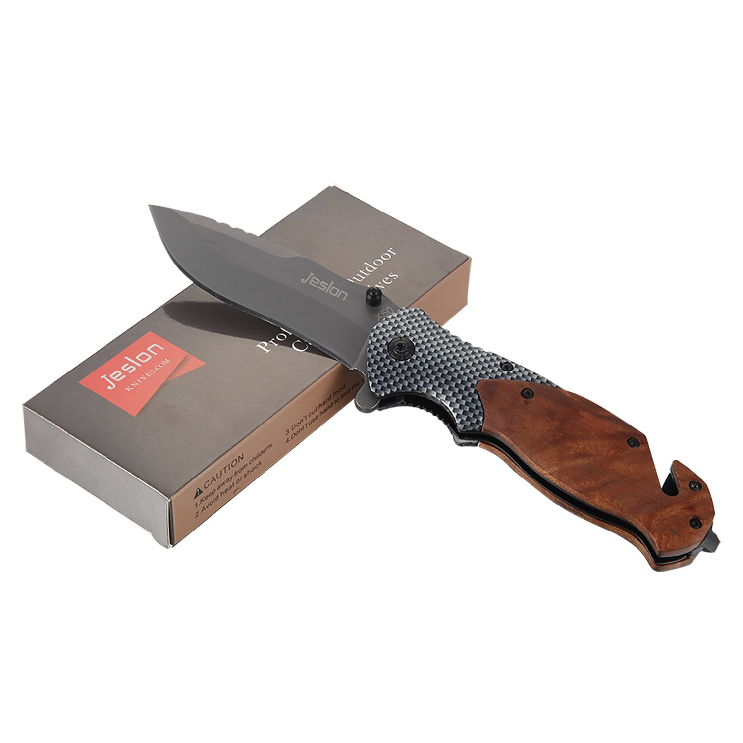 Jeslon Spring Assisted Opening Tactical Folding Pocket Knife, Wood Handle 440C 57HRC Blade Good for Camping Survival and outdoor Activities. by Jeslon (Image #7)