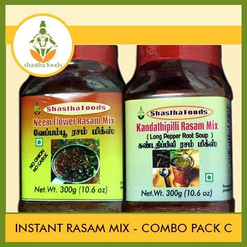 Shastha Instant Rasam Mix Combo Pack of C (Contains 6 Nos) Shastha (Kandathippili -3 & Neem Flower-3) Rasam Mix (Each 200g) (T-B)