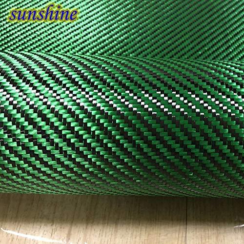 (Pukido Green Carbon Aramid Fiber Hybrid Fabric Cloth 3K Carbon Fiber Green Aramid Fiber 190gsm 0.2mm Thickness)
