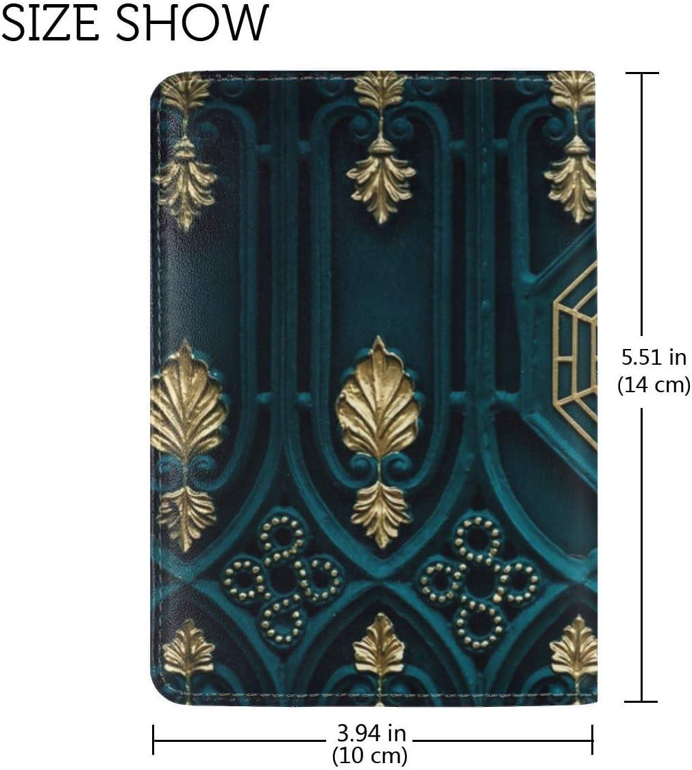 JiaoL Yin Yang Buddhism Element Gates Gold Leather Passport Holder Cover Case Travel One Pocket
