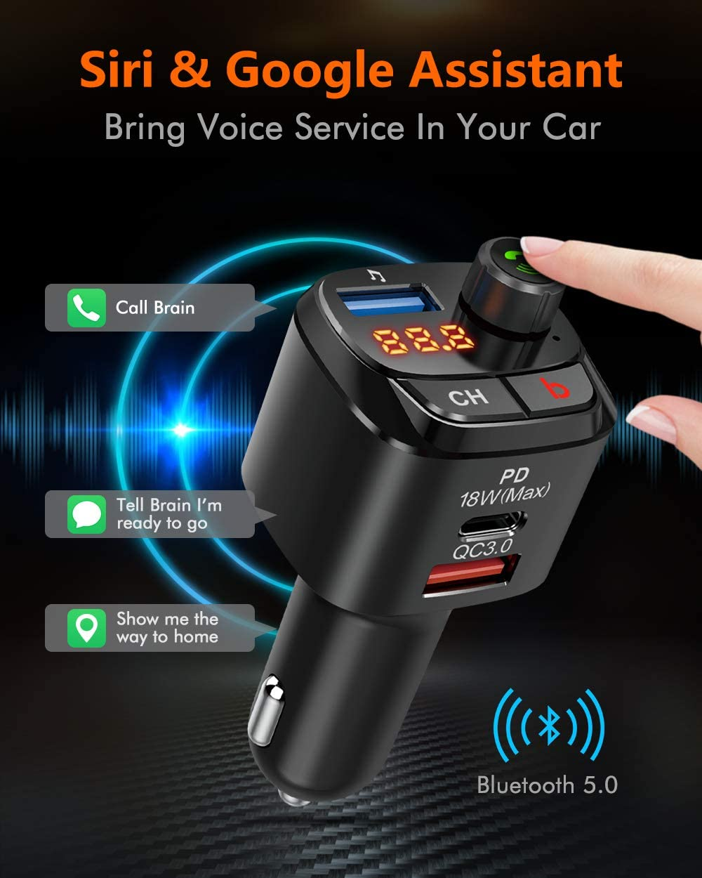 Siri Google Assistant QC3.0 /& Type-C PD 18W Wireless Bluetooth Radio Adapter Music Player//Car Kit with Hands-Free Calls NX12 Nulaxy Bluetooth 5.0 FM Transmitter for Car Bass Booster