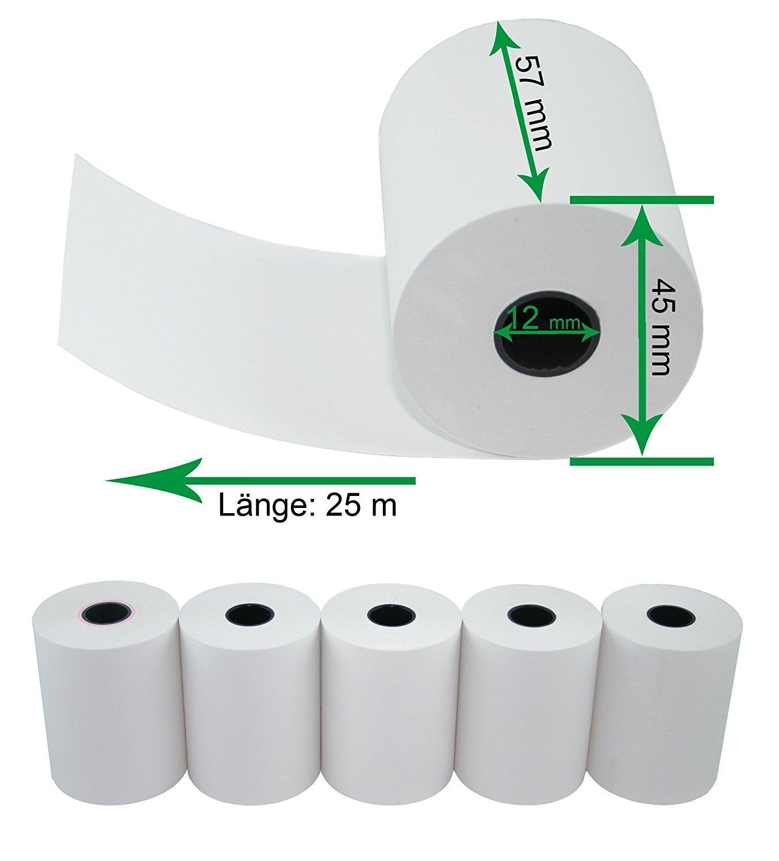 5 rotoli di carta termica per registratori di cassa elettronici, larghezza: 57 mm; diametro rotolo: 45 mm; diametro tubo: 12 mm; lunghezza: 25 m senza testo nota di addebito M&S Digital T57x25x12