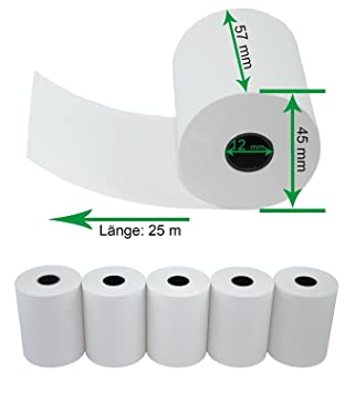 50x Kassenrollen Thermorollen Papierrollen 57x 18x 12mm 18Meter Bonrolle Weiss X