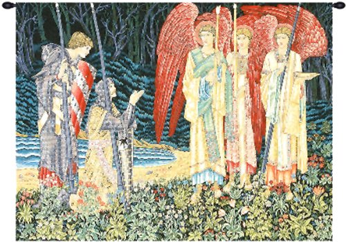 Tapestry, Extra Large, Wide - Elegant, Fine, French & Wall Hanging - The Holy Grail II (The Vision) - With Border, E-H43xW56 by Blessinglight USA