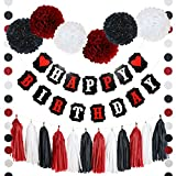 21 PIECE HEART HAPPY BIRTHDAY BANNER POM POMS TASSELS AND GARLAND