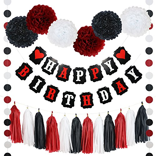 Black And Red Happy Birthday Banner (21 Piece Heart Happy Birthday Banner POM POMS Tassels and)
