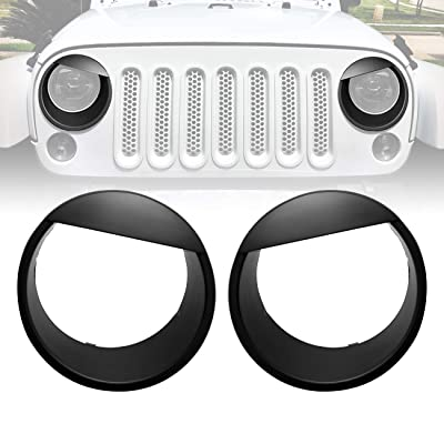 ICARS Black Angry Bird Front Headlight Trim Cover Bezels Pair Jeep Wrangler Rubicon Sahara Sport JK JKU Unlimited Accessories 2 Door 4 Door 2007-2020: Automotive [5Bkhe1507016]