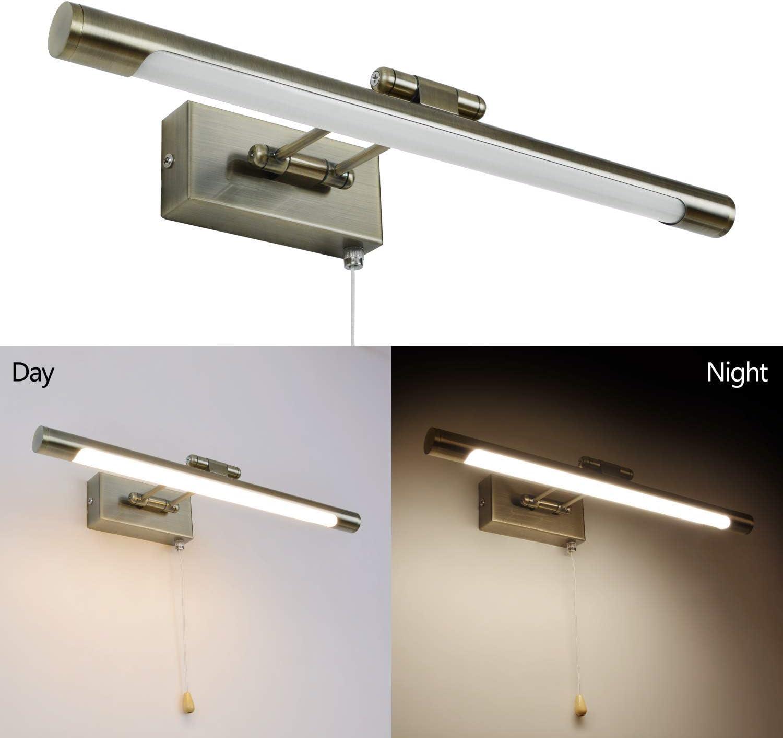 40CM Bronzo MantoLite LED Lampade da Parete per Quadri,8W 3000K Camera da Letto Illuminazione per Interni con testa Girevole e Interruttore,Specchio Bagno Illuminazioni per Pareti Lampade da Comodino