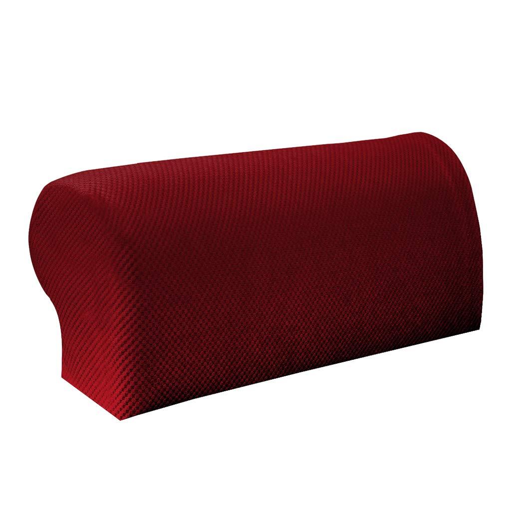 B Blesiya 1 Pair/2Pcs Elastic Sofa Armrest Covers Armchair Slipcovers Protector,Polyester Spandex Fabric - Beige