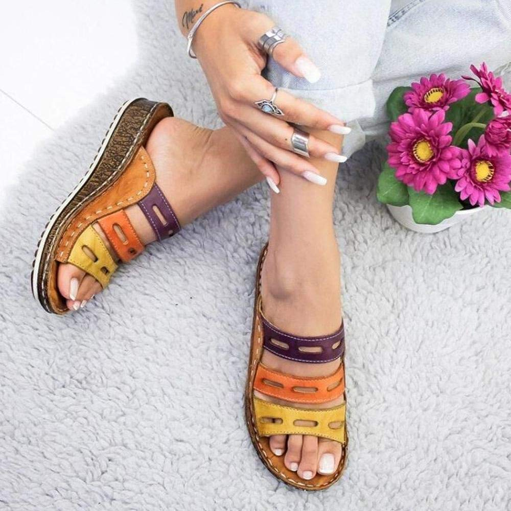 58122c8a8 Amazon.com: 2019 New Women Three-Color Stitching Sandals, Womdee Casual  Sandals Comfortable PU Material, Open Toe Casual Summer Beach Traveling  Shoes for ...