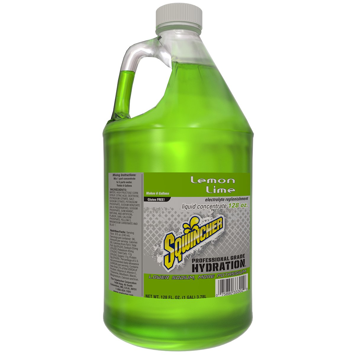 Sqwincher 128 oz Liquid Concentrate Electrolyte Replacement Beverage Mix, 6 Gallon Yield, Lemon Lime 040208-LL (Case of 4)