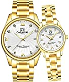 Men and Women Couples Automatic Mechanical Gold & Silver Stainless Steel Watches Gift Set Sapphire Watch (Gold White)