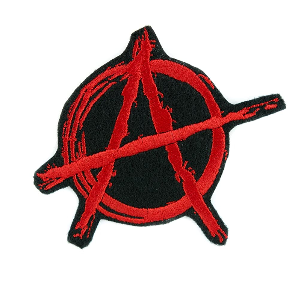 Red Anarchy Sign Patch Iron on Applique Alternative Punk Rock Clothing DIY